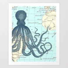 Map Octopus Art Print