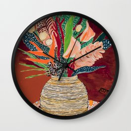 Autumnal Bouquet of Flowers in Woven Basket Vase on Warm Auburn Rust Still Life Fall Floral Painting Wall Clock