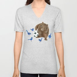 Blue wrens Wombat Football Unisex V-Neck