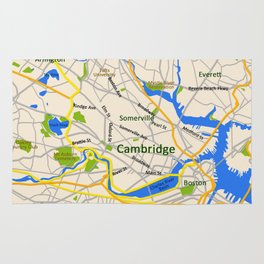 Map of Cambridge, MA, USA Rug