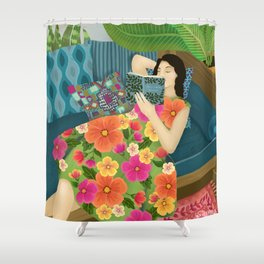 Women Who Read Are Dangerous- Woman reading plant filled room Shower Curtain