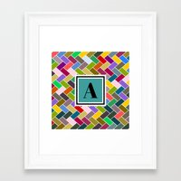 monogram Framed Art Prints featuring  A Monogram by mailboxdisco