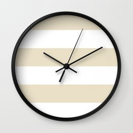 Wide Horizontal Stripes - White and Pearl Brown Wall Clock