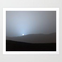 Mars Sunset, Martian Twilight, Outer Space, Curiosity, NASA Art Print