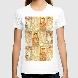"Alphonse Mucha ""The Flowers (series): Iris, Lily, Carnation, Rose"" T-shirt"