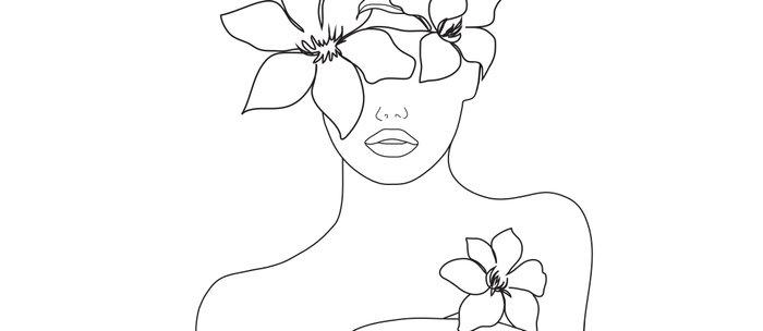 Minimal Line Art Woman with Flowers IV Coffee Mug