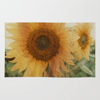 sunflower Area & Throw Rugs featuring sunflower by VanessaGF