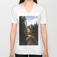 forrest V-neck T-shirts featuring My Forrest by Plutonian Oatmeal