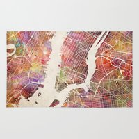 new york map Area & Throw Rugs featuring New York Map Watercolor by Map Map Maps