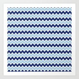 Navy Blue and Light Blue Chevron Art Print