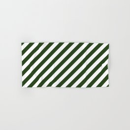 Large Dark Forest Green and White Candy Cane Stripes Hand & Bath Towel