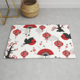 Japanese Arts Seamless Pattern Crane Fan  Rug