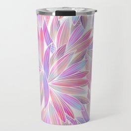 Trendy girly pink lavender coral watercolor floral Travel Mug