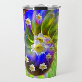 ULTRA VIOLET GREEN GARDEN  SPIRAL &  DAFFODILS ART Travel Mug