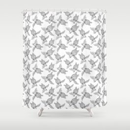 The turtles ink are swimming in white sea by Jana Sigüenza Shower Curtain