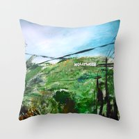 hollywood Throw Pillows featuring Hollywood by James Peart