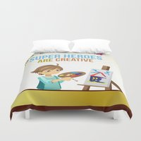 super heroes Duvet Covers featuring Super Heroes Are Creative by youngmindz