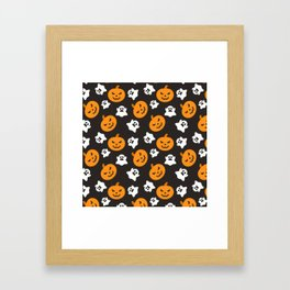 Happy halloween pumkins and ghosts pattern Framed Art Print