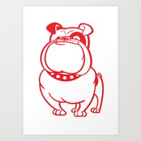 bulldog Art Prints featuring Bulldog by drawgood
