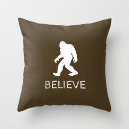 "Bigfoot Sasquatch ""BELIEVE"" Throw Pillow"