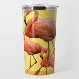 SURREAL FLAMINGOS CALLA LILIES RED ART Travel Mug