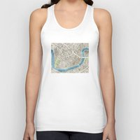 new orleans Tank Tops featuring New Orleans City Map by Anne E. McGraw