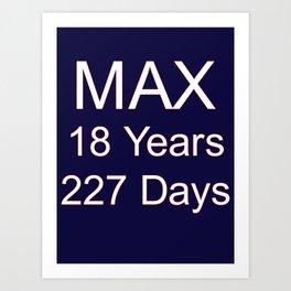 Max Verstappen youngest f1 grand prix winner - 18 years, 227 days Art Print