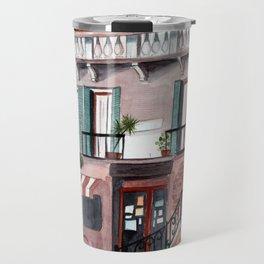Italy coffee shop watercolor Travel Mug