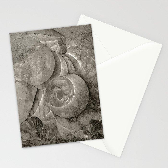 Fossilized Shells - Black & White Stationery Cards