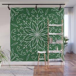 Single Snowflake - green Wall Mural
