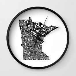 Typographic Minnesota Wall Clock
