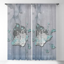 Sport, surfboard with flowers and fish Sheer Curtain