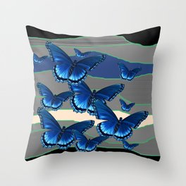 INDIGO BLUE BUTTERFLIES ON THE STORMY HORIZON Throw Pillow