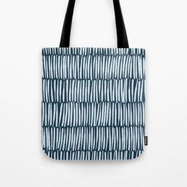 Inspired by Nature | Organic Line Texture Dark Blue Elegant Minimal Simple Tote Bag
