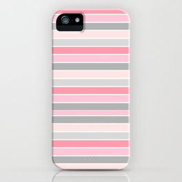 Gray and Pink Striped Pattern iPhone Case