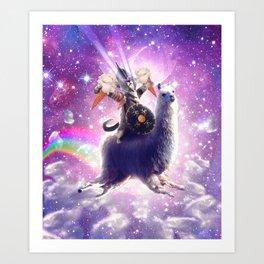 Lazer Warrior Space Cat Riding Llama Eating Ice Cream Art Print