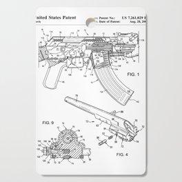 Ak-47 Rifle Patent - Ak-47 Firing Mechanism Art - Black And White Cutting Board
