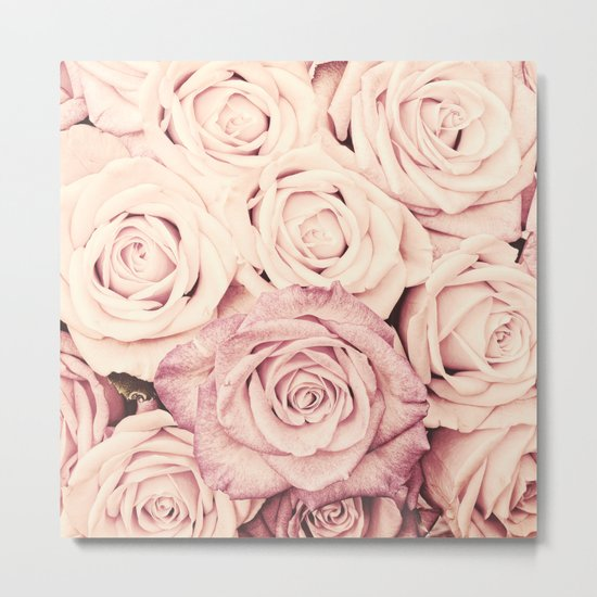 Some people grumble I Floral rose roses flowers pink - oct17cb Metal Print