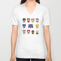x men V-neck T-shirts featuring Pixel X-Men by PixelPower