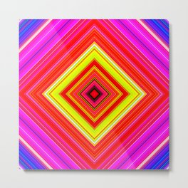Rainbow Abstract Psychedelic Neon Dawn Triangle Design - Pink Red Violet Metal Print