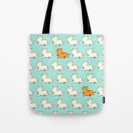 Proud cat pattern blue Tote Bag