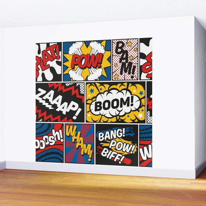 Modern Comic Book Superhero Pattern Color Colour Cartoon Lichtenstein Pop Art Wall Mural