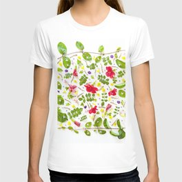 Leaves and flowers pattern (30) T-shirt