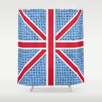 union jack Shower Curtains featuring Union Jack by Cats Hand