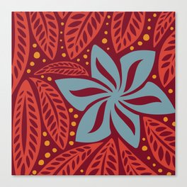 Hawaiian Polynesian Red Blue Floral Tattoo Canvas Print