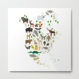 Map of North America with Animals bison bat manatee fox elk horse wolf partridge seal Polar bear Metal Print