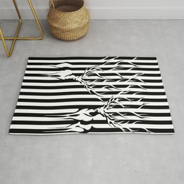 Forest Spirit Deers in Black and White Stripes  Rug