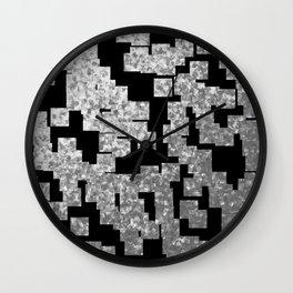 Silver checks on dark underground Wall Clock