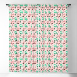 Small Camper Vans in Pink and Mint with Green Cactus and Pink Flowers Blackout Curtain