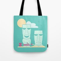 putin Tote Bags featuring Easter Island Summer Fun by Teo Zirinis